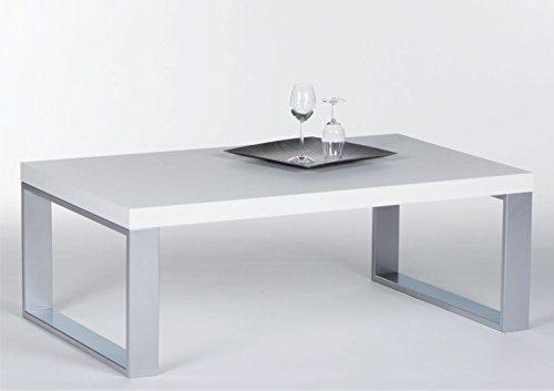Couchtisch in Weiß Hochglanz mit Metallgestell   Sofa-Tisch mit robuster Tischplatte