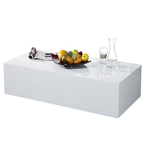 Mobel24 Design Couchtisch Monobloc Xl 100cm Hochglanz Weiss