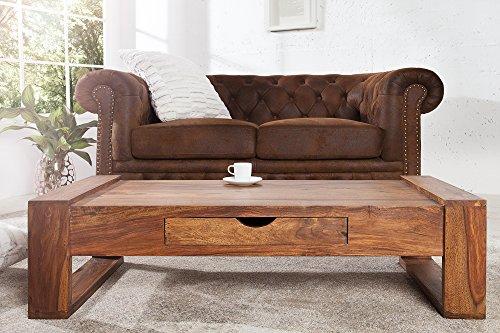 DuNord Design Massivholz Couchtisch Wohnzimmertisch Sheesham Massiv Holz Tisch GOA Holztisch 100cm Schublade