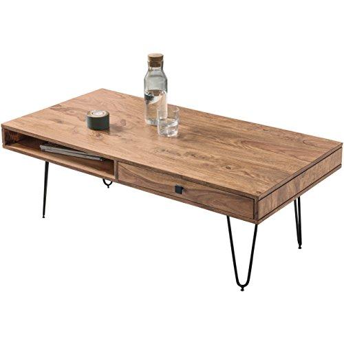WOHNLING Couchtisch Massiv-Holz Akazie 120 cm breit Wohnzimmer-Tisch Design Metallbeine Landhaus-Stil Beistelltisch Natur-Produkt Wohnzimmermöbel Unikat modern Massivholzmöbel Echtholz rechteckig