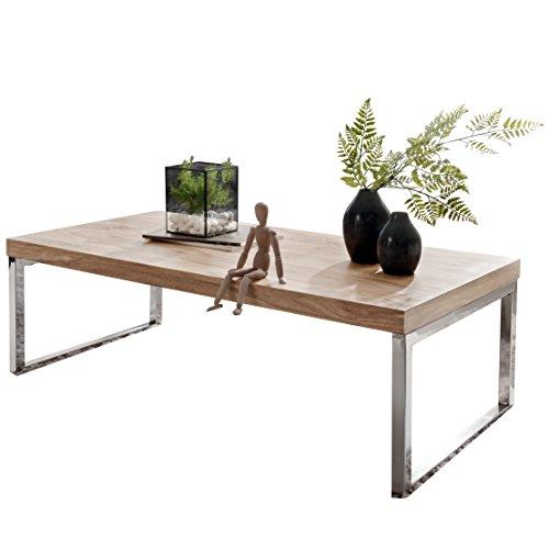WOHNLING Couchtisch Massiv-Holz Akazie 120 cm breit Wohnzimmer-Tisch Design dunkel-braun Landhaus-Stil Beistelltisch Natur-Produkt Wohnzimmermöbel Unikat modern Massivholzmöbel Echtholz rechteckig
