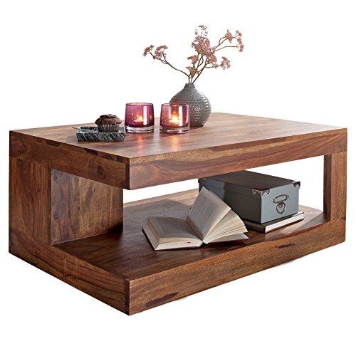 Wohnling Couchtisch Massiv-Holz Sheesham 90 cm breit Wohnzimmer-Tisch Design Landhaus-Stil Beistelltisch Natur-Produkt Wohnzimmermöbel Unikat modern Massivholzmöbel Echtholz rechteckig dunkel-braun
