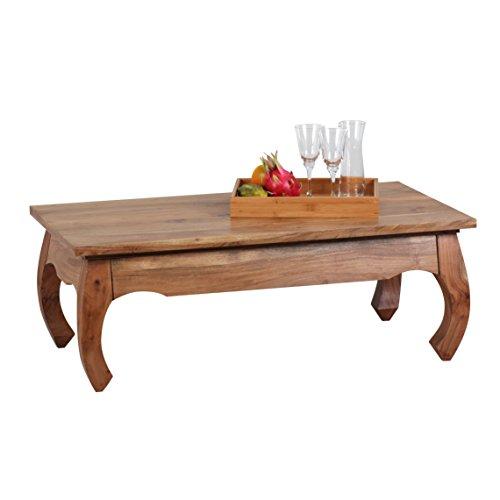 Wohnling Couchtisch OPIUM Massiv-Holz Akazie 110 cm breit Wohnzimmer-Tisch Design Natur-Produkt Landhaus-Stil Beistelltisch Wohnzimmermöbel Unikat modern Massivholzmöbel Echtholz rechteckig braun