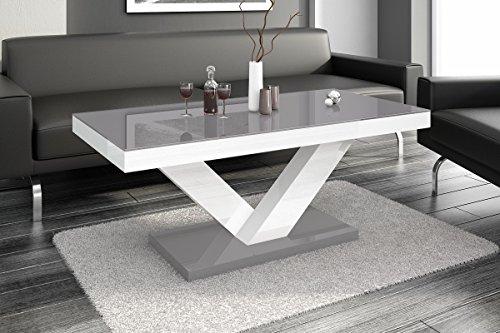super furniture24_eu Couchtisch Victoria Mini Super Hochglanz-Acryl (Grau Hochglanz/Weiß Hochglanz/Grau Hochglanz)