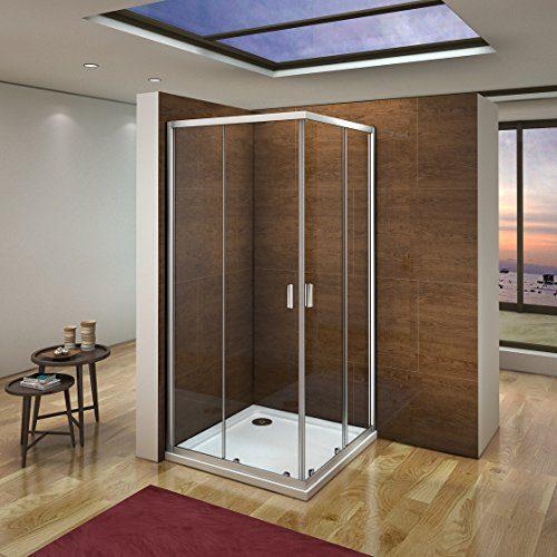 185cm Duschkabine Schiebetür Duschabtrennung Eckeinstieg Duschwand Duschtür aus 6mm ESG Sicherheitsglas
