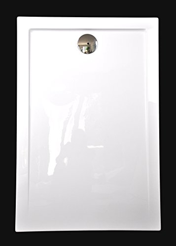 Art-of-Baan®- Extra flache Duschtasse, Duschwanne aus Acryl, glatt Weiß Hochglanz; 120x80x3,5cm inkl. Ablaufgarnitur
