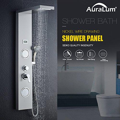 Auralum Edelstahl Duschpaneel Duschsystem Handbrause Regendusche Set mit Wassertemperaturanzeige