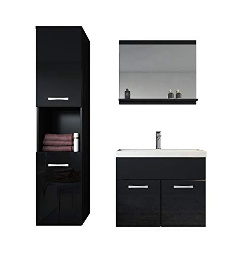 Badezimmer Badmöbel Set Montreal 60 cm Waschbecken Hochglanz Schwarz Fronten - Unterschrank Hochschrank Waschtisch Möbel