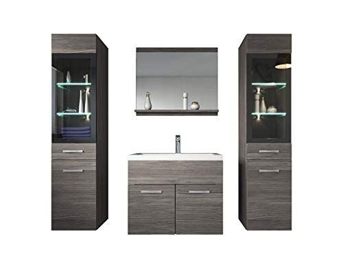 Badezimmer Badmöbel Set Rio XL LED 60 cm Waschbecken Bodega (Grau) - Unterschrank 2X Hochschrank Waschtisch Möbel