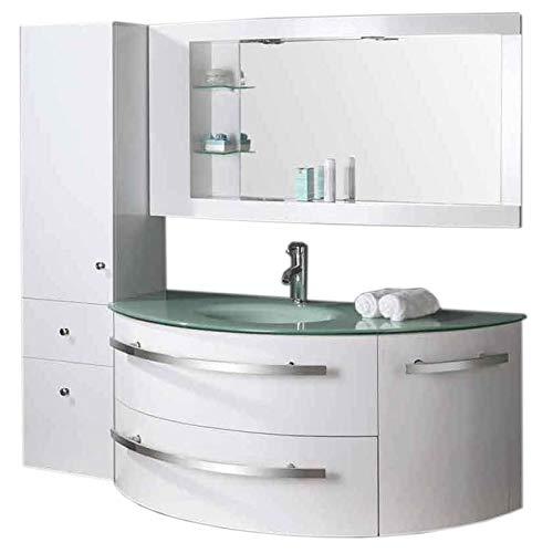 Badmöbel Badezimmermöbel Badezimmer 120 cm Waschtisch Schrank Spiegel Set Ambass