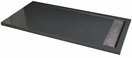 Bernstein Badshop Duschtasse rechteckig Mineralguss-Duschwanne 1280BG Edelstahl - Grau glänzend - 120x80x4,5cm