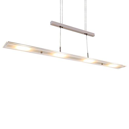 Briloner Leuchten - LED Pendelleuchte, Esstischlampe, Wohnzimmerleuchte, 18W, 1600 Lumen, höhenverstellbar, teilsatiniertes Glas, 850x1.200mm (LxH)