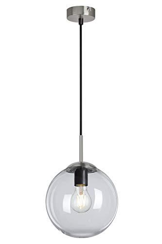 Briloner Leuchten - Pendelleuchte, Pendellampe mit rundem klaren Glas, Metall, 40 Watt, Matt-Nickel