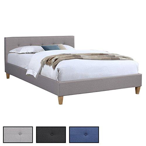 CARO-Möbel Polsterbett Adele Bettgestell 140x200 cm Doppelbett Designbett, inklusive Lattenrost, Stoffbezug in 3 Farben