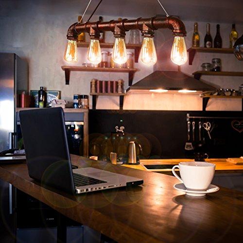 CCLIFE Wasserrohr Industrielle Hängelampe Pendelleuchte Vintage Retro Industrial Hängeleuchte für Bar Cafe Restaurant steampunk Lampe