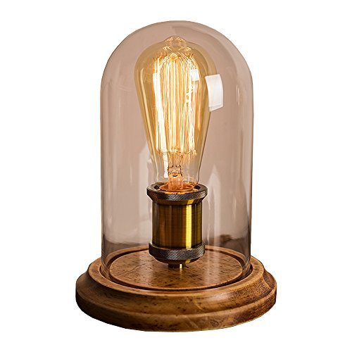 Dellemade Jahrgang Massiv Holz Lampe Retro Tischlampe E27 Edison Birne Enthalten