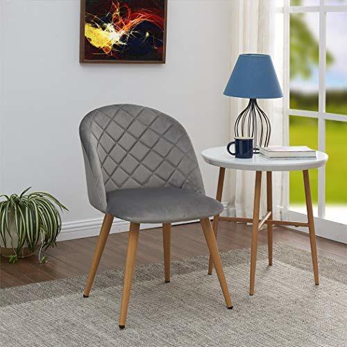 Duhome 2er Set Esszimmerstuhl aus Stoff SAMT Stuhl Retro Design Polsterstuhl mit Rückenlehne Metallbeine Farbauswahl 8052B