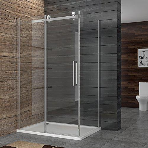 Dusche Duschkabine Duschabtrennung aus Sicherheitsglas Haupttür 100-150cm, Seitenwand 76-90cm, Höhe 195cm mit Duschtasse
