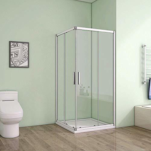 Duschkabine Eckeinstieg Duschabtrennung Dusche Schiebetür Duschwand 6mm ESG Sicherheitsglas Höhe 185cm