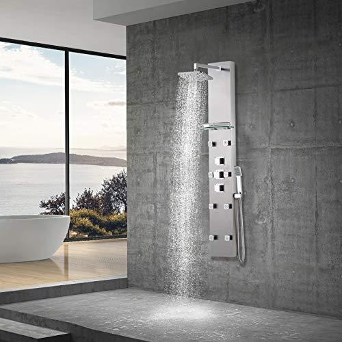 Elbe Duschpaneel Edelstahl mit Thermostat, 8 Massagendüsen, Regendusche, Handbrause, Glasablage, Duschsystem aus gebürstetes Edelstahl, für Wellness Luxus und Duschvergnügen im eigenen Bad