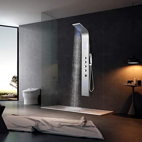 Elbe Duschpaneel Edelstahl mit Thermostat, Wasserfall, 2xMassagedüsen, blauer LED-Lichts, Regendusche und Handbrause, Duschsystem aus gebürstetes Edelstahl, Wellness und Duschvergnügen im eigenen Bad