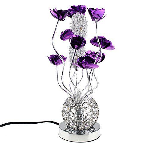 Escomdp Handbuch Aluminium Lila Blumen Wohnzimmer Schlafzimmer Dekor Rostschutz Tischlampe Antiseptische LED Lichtquelle