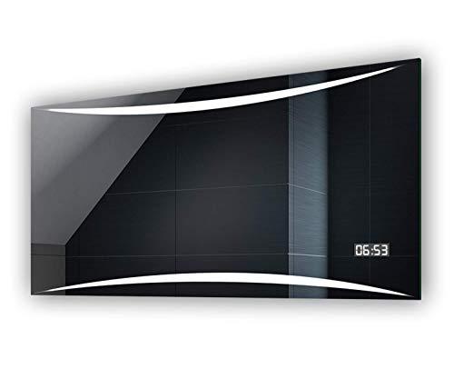 FORAM Design Badspiegel mit LED Beleuchtung von Artforma | Wandspiegel Badezimmerspiegel | DIGITAL LED Uhr + Touch Schalter
