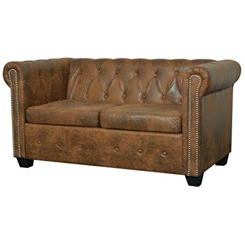Festnight Chesterfield Sofa 2-Sitzer-Sofa Couch Loungesofa Wohnzimmersofa mit Kunstlederpolsterung Holzrahmen Braun