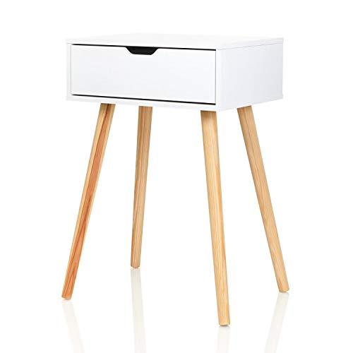 Furniture for Friends Möbelfreude Nachtkonsole Tjark Nachttisch mit Schublade | weiß mit Holzfüßen | 40 x 30 x 60 cm
