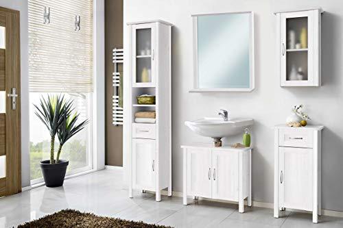 Galdem Badmöbel-Set mit Spiegel Waschbeckenunterschrank Hochschrank Hängeschrank Seitenschrank Badezimmer Weiß