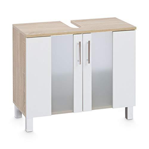 Galdem Lugano Badmöbel-Set Spiegelschrank Waschbeckenunterschrank Hochschrank Hängeschrank Midischrank Unterschrank Komplettbad Eiche Sonoma Weiß
