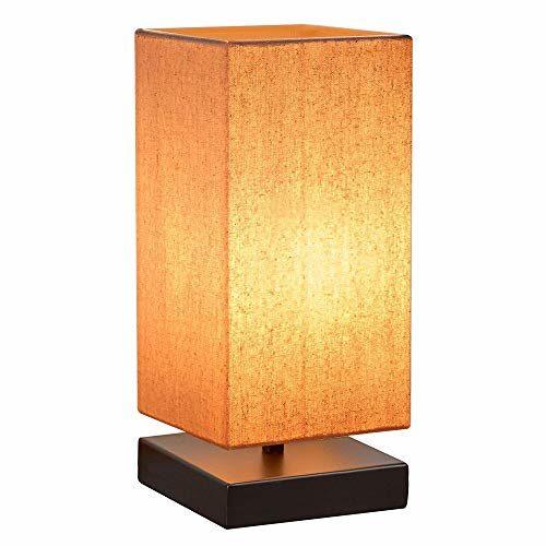 HENZIN Nachttischlampe Dimmbar,Tischlampe mit eckigem Lampenschirm Stoffschirm,3 Helligkeitsstufen Touch Dimmbar,ideal für Schlafzimmer, Wohnzimmer, Couchtisch, Büro