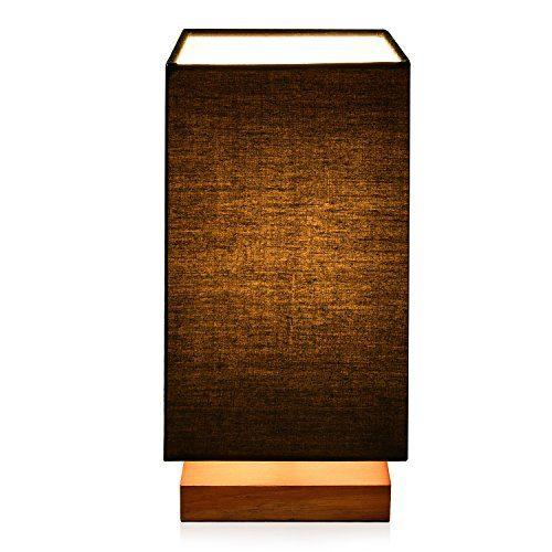 Holz Tischlampe Nachttischlampe Atmosphärenlampe Schreibtischlampe Massiv holz und Stoffschirm für Schlafzimmer Wohnzimmer Kinderzimmer