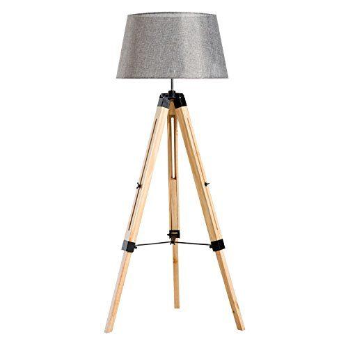 Homcom® Stehlampe Stehleuchte Standleuchte höhenverstellbar E27, Kiefer+Polyester, 65x65x99-143cm