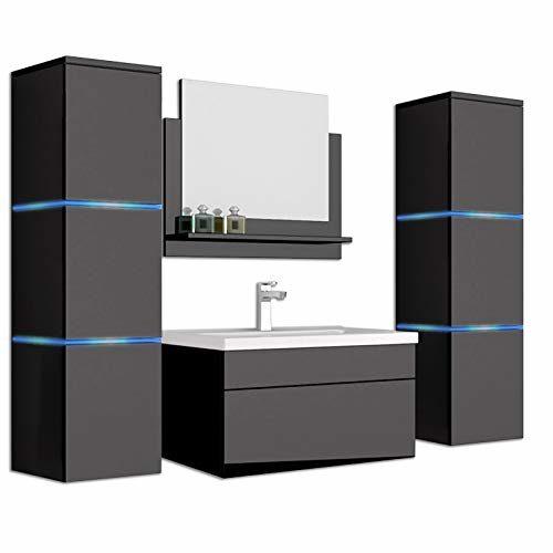 Home Deluxe - Badmöbel-Set - Wangerooge schwarz - inkl. Waschbecken und komplettem Zubehör - Verschiedene Größen