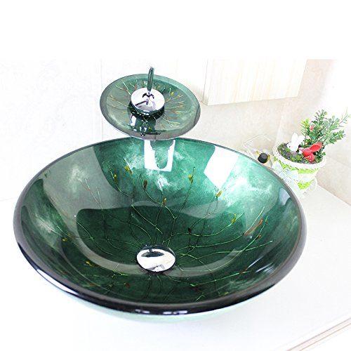 Homelava Modern Gehärtetes Glas Waschbecken mit Wasserfall Armatur Set