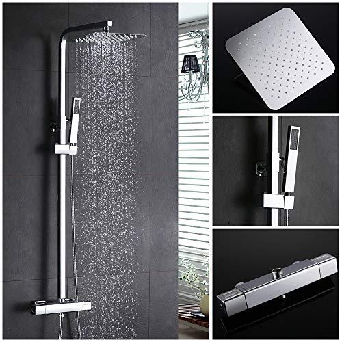 Homelody Duschsystem mit Messing Duschpaneel Duschset Regendusche mit Thermostat Duscharmatur Dusche