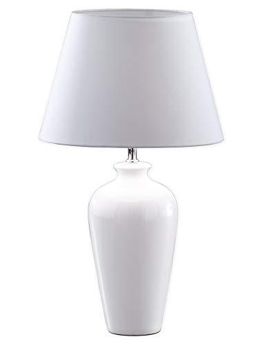 Honsel Leuchten 55771 Tischleuchte chrom, Keramik weiß Schirm weiß