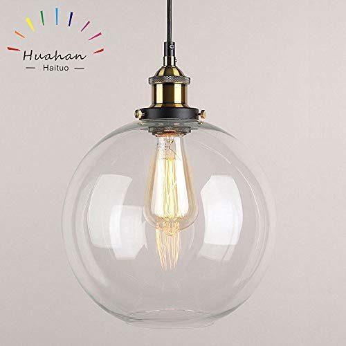Huahan Haituo Glas Pendelleuchte Vintage Industrial Metall-Finish Klarglas Ball Runde Schatten Loft Pendelleuchte Retro-Deckenleuchte Vintage-Lampe 20cm