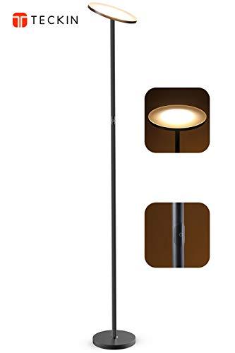 LED Stehlampe, Deckenfluter Wohnzimmer Lampe Standleuchten Dimmbare und TECKIN Leselicht für Wohnzimmer, Schlafzimmer und Büro