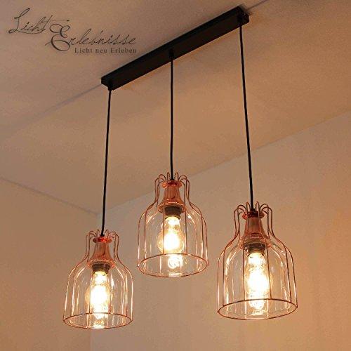 Licht-Erlebnisse F/LU/171110/114 Effektvolle Hängeleuchte Vintage Design 3x E27 bis zu 60 Watt 230V aus Glas & Metall Küche Pendelleuchte Hängelampe Pendellampen