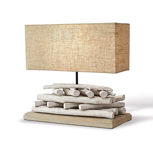 Loberon Tischlampe Caribou, Paulowniaholz/Leinen/Baumwolle, H/B/T ca. 39/40 / 15 cm, weiß/leinen, Energieeffizienzklassen A++ bis E
