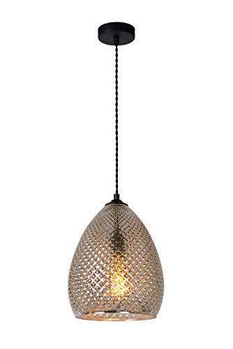 Lucide Gerben Pendelleuchten, 40 W, Antikes Silber Glas, Schwarz