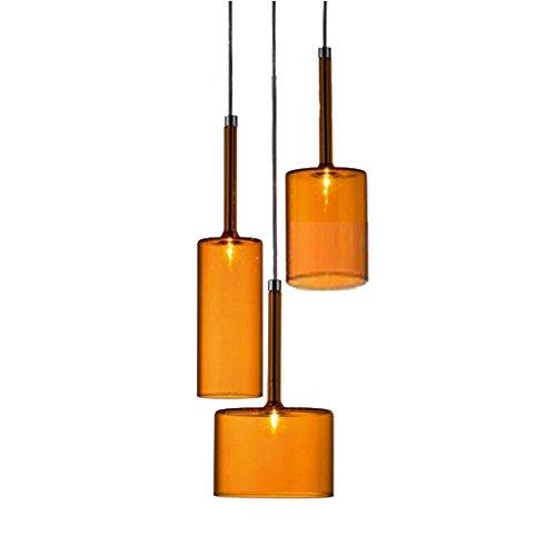 MZStech Set 3 Licht Einfache Deckenleuchte Morden Pendelleuchte mit Glas Lampenschirm Basis E27 Glühbirne
