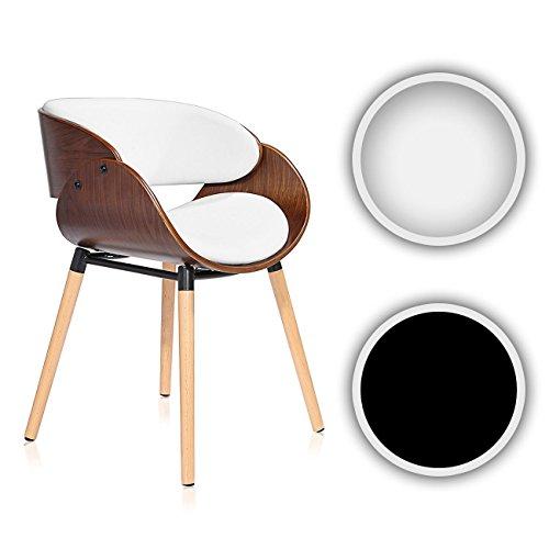 Makika Design Stuhl Retro Bürostuhl Vintage Hocker Kunstleder Wohnzimmerstuhl Esszimmerstuhl Küchenstuhl Sessel Holzbeine - Belle in verschiedenen Farben