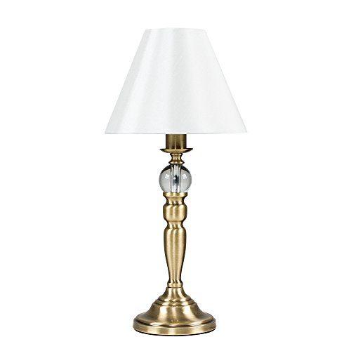 MiniSun – Moderne und schöne Tischlampe mit einem metallischen Finish, einem Glasteil auf der Basis und einem cremefarbigen und kegeligen Lampenschirm – Touch-Me Tischleuchte