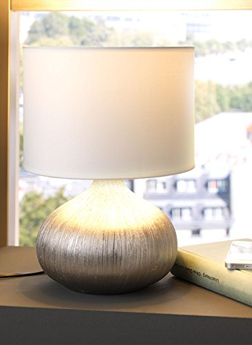 Nachttischlampe Tischleuchte Tischlampe CERA | Keramik | Stoff | Silberfarben-Weiß | ohne Leuchtmittel