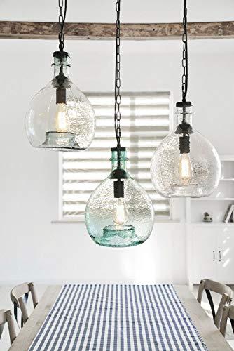 One Couture HANDGEFERTIGT Design PENDELLEUCHTE SCHWARZ Glas HÄNGELEUCHTE Lampe HÄNGELAMPE
