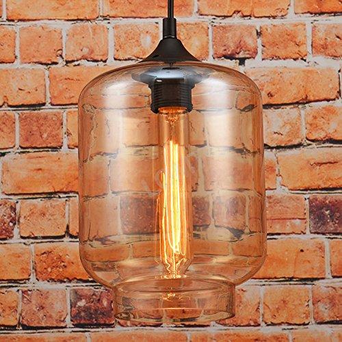 Pendelleuchte Bernstein Glas Design: Deckenlampe Schwarzer Lampenhalter. Edison Glühbirne. Perfekt für Bar Restaurant Coffee Shop und Heimgebrauch, D: 18cm H: 26cm. CE-Zertifizierung
