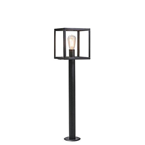 QAZQA Modern Moderne Außenleuchte/Wegeleuchte/Gartenlampe/Gartenleuchte/Standleuchte Pfahl schwarz mit Glas - Rotterdam/Außenbeleuchtung/Edelstahl Würfel/Quadratisch/Länglich LED geeigne